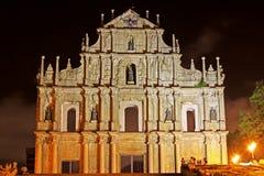 Ruïnes van St Paul At Night, Macao, China, Unesco-de Plaats van de Werelderfenis Stock Foto