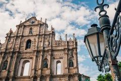Ruïnes van St Paul ` s Kerk in Macao Royalty-vrije Stock Foto