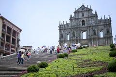 Ruïnes van st pauls kathedraal in Macao Stock Afbeeldingen