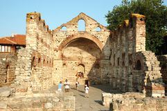 Ruïnes van St. Sophia kerk, Nesebar, Bulgarije Stock Foto's