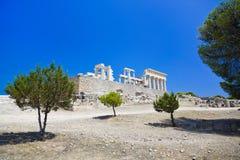 Ruïnes van tempel op eiland Aegina, Griekenland Stock Afbeelding