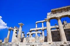 Ruïnes van tempel op eiland Aegina, Griekenland Royalty-vrije Stock Foto's