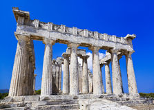 Ruïnes van tempel op eiland Aegina, Griekenland Royalty-vrije Stock Fotografie