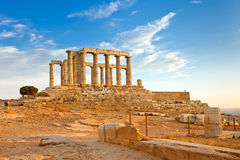 Ruïnes van tempel Poseidon stock foto's