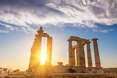 Ruïnes van tempel Poseidon royalty-vrije stock afbeeldingen