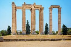 Ruïnes van Tempel van Olympian Zeus in Athene Stock Foto's