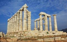 Ruïnes van Tempel van Poseidon in Griekenland stock afbeelding