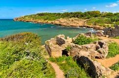 Ruïnes van Tipasa, een Roman colonia in Algerije, Noord-Afrika royalty-vrije stock foto's