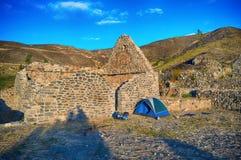 Ruïnesarchitectuur, steenhuis, het kamperen Royalty-vrije Stock Foto's