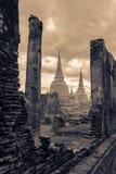 Ruïnetempel in Wat Mahathat, de Oude Hoofdstad van Thailand - Royalty-vrije Stock Foto's