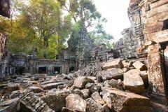 Ru?nes van de 12de Eeuw van Preah Khan Temple in Angkor Wat Siem Reap, Kambodja royalty-vrije stock foto