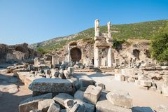 Ru?nes van de oude stad Ephesus, de oude Griekse stad in Turkije, in een mooie de zomerdag stock foto's