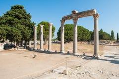 Ru?nes van de oude stad Ephesus, de oude Griekse stad in Turkije, in een mooie de zomerdag stock foto
