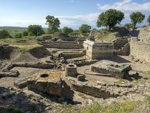 Ru?nes van oude Troia-stad, Canakkale Dardanellen/Turkije stock afbeelding