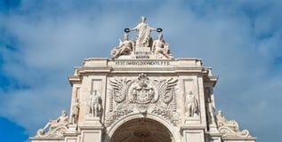 Rua奥古斯塔曲拱上面在里斯本,葡萄牙 免版税图库摄影