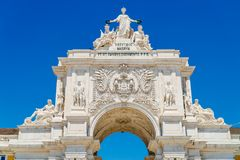 Rua奥古斯塔曲拱建筑细节在里斯本市葡萄牙 免版税图库摄影