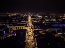 Rua aérea de Sienkiewicza da noite de Kielce imagem de stock