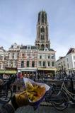 Rua acolhedor da cidade em Países Baixos, utrecht Foto de Stock