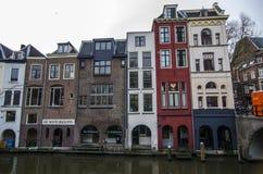 Rua acolhedor da cidade em Países Baixos, utrecht Imagens de Stock Royalty Free