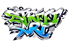 Rua Art Graffiti Vetora Lettering Fotografia de Stock