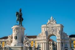 Rua Augusta Arch é um monumento histórico triunfal de mármore imagem de stock royalty free