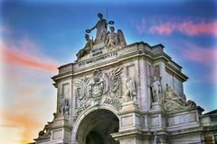 Rua Augusta Arch  Baixa Palace Square Lisbon Portugal Royalty Free Stock Photography