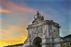 Rua Augusta Arch  Baixa Palace Square Lisbon Portugal Stock Images