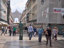 Rua Augusta Arch at Dawn in Lisbon. Portugal -Living sculpture Stock Photos