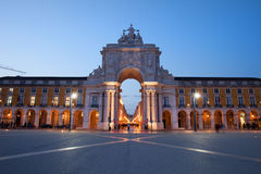 Rua Augusta Arch at Dusk in Lisbon. Portugal. View from the Commerce Square (Portuguese: Praca do Comercio, Terreiro do Paco Royalty Free Stock Image