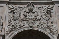 Rua Augusta Arch Facade Arco da Rua Augusta arkivfoto