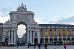 Rua Augusta Arch front in Lisbon. In the evening Royalty Free Stock Photography