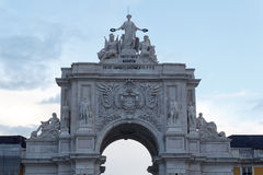 Rua Augusta Arch front in Lisbon. In the evening Royalty Free Stock Photos