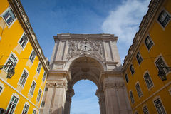 The Rua Augusta Arch in Lisbon. Here are the sculptures made of. Celestin Anatole Calmels and Victor Bastos. Portugal, Europe Royalty Free Stock Images