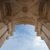 The Rua Augusta Arch in Lisbon. Here are the sculptures made of Stock Image