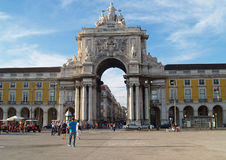 Rua Augusta Arch. Lisbon, Portugal October 6, 2008 Historical building and tourist attraction on Commerce Square, built to commemorate the city's reconstruction stock images