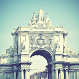 Rua Augusta. Arch in Lisbon, Portugal. Retro style filtred image Stock Images