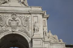 Rua Augusta Arch; Lisbon. Rua Augusta Arch 1875; Lisbon; Portugal Royalty Free Stock Photos