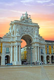 Rua Augusta Arch in Lisbon Portugal at sunset Royalty Free Stock Images