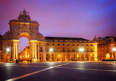 Rua Augusta Arch in Lisbon, Portugal. Rua Augusta Arch is a triumphal arch-like, historical building and visitor attraction in Lisbon on Commerce Square stock photos