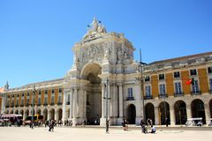 Rua Augusta Arch in Lisbon Stock Images