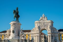 Rua Augusta Arch is a marble triumphal historical monument. The Rua Augusta Arch is a marble triumphal historical monument and main attraction on Commerce Square Royalty Free Stock Image