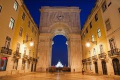Rua Augusta Arch at Night in Lisbon Stock Image
