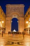 Rua Augusta Arch at Night in Lisbon Stock Photo