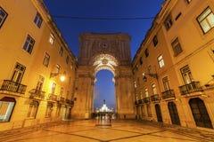 Rua Augusta Arch on Plaza of Commerce in Lisbon Stock Photo