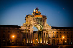 Rua Augusta Arch in Portugal. The Rua Augusta Arch in Portugal at night Stock Photo