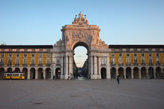 Rua Augusta Arch at Sunrise in Lisbon. Portugal. View from the Commerce Square (Palace Square, Portuguese: Praca do Comercio, Terreiro do Paco Stock Photography
