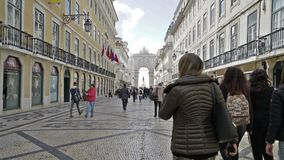 Rua Augusta with the Arco da Vitoria in the background stock footage