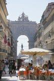 Rua Augusta en Augusta Arch Lisbon Royalty-vrije Stock Foto