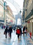 Rua Augusta gata, Lissabon arkivfoto