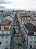 Rua Augusta in Lisbon. View from Arco da Rua Augusta Royalty Free Stock Image